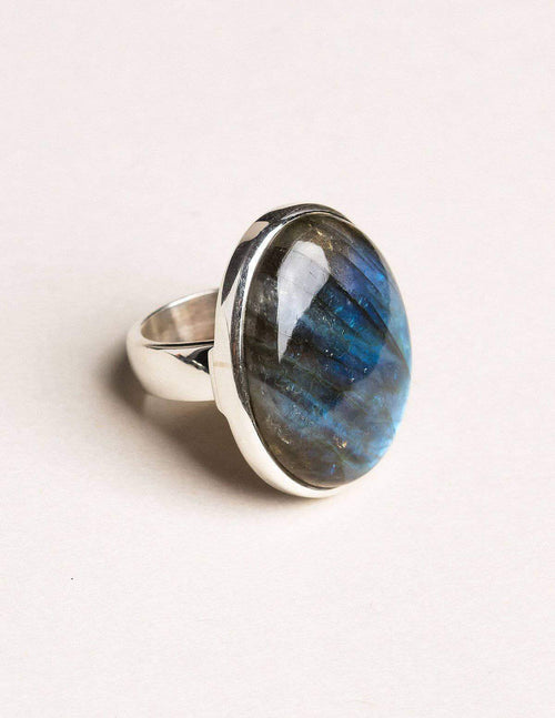 Labradorite Gemstone Ring - Adjustable