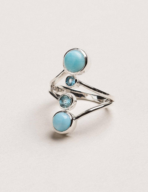 Larimar and Blue Topaz Ring