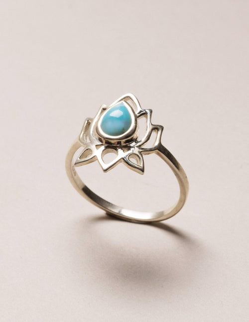 Larimar Lotus Ring - Size 7