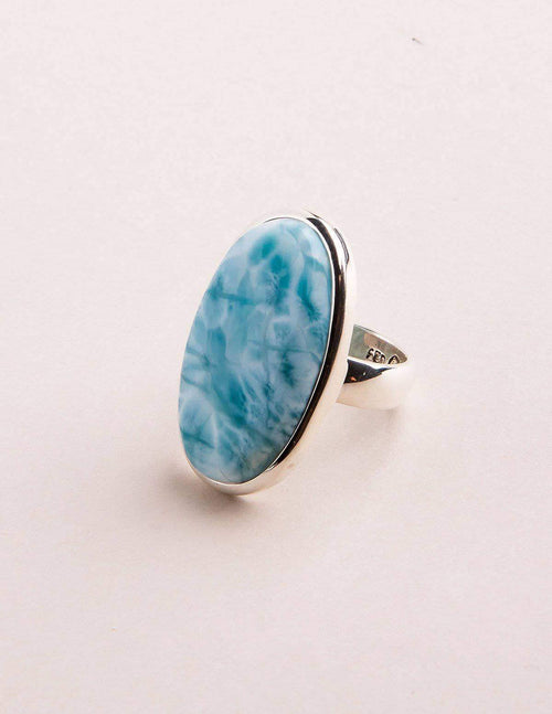 Larimar Oval Gemstone Ring - Adjustable