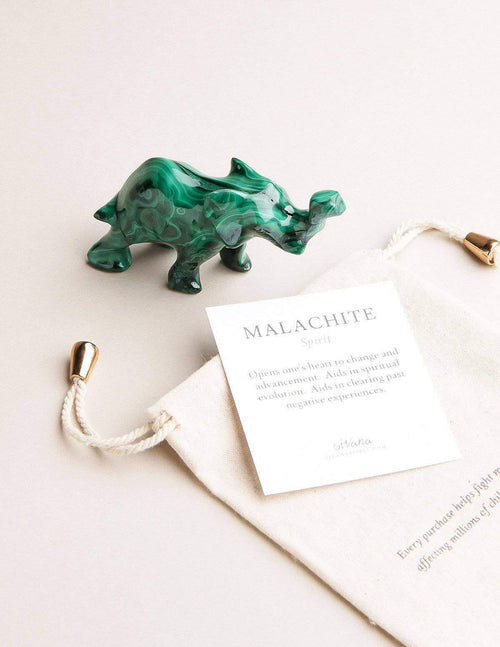 Malachite Hand-Carved Elephant