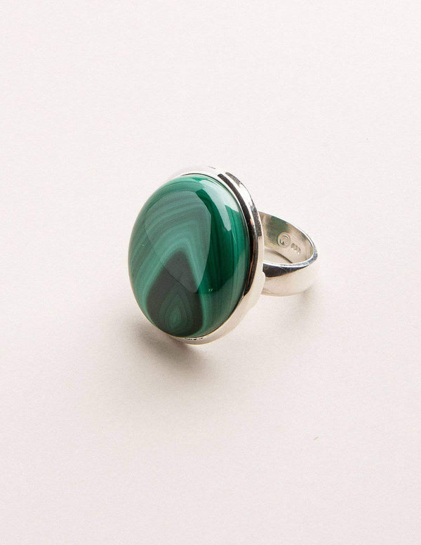 Malachite Gemstone Ring - Adjustable