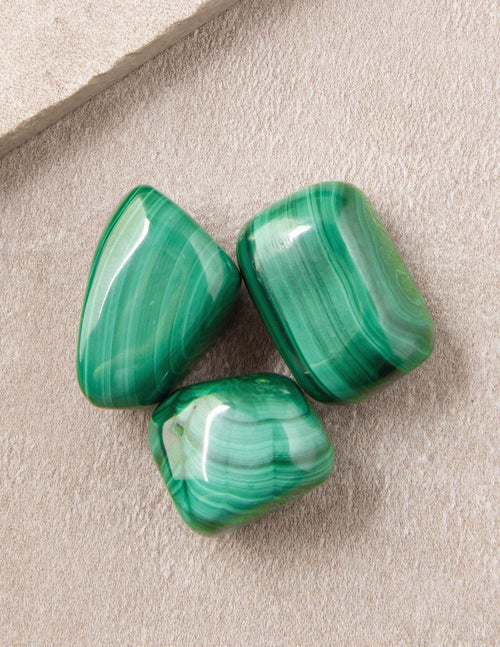 Malachite Pocket Stones - Set of 3
