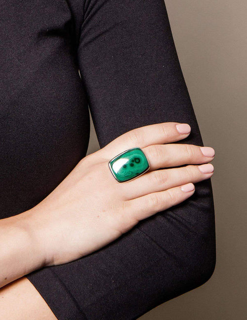 Malachite Square Gemstone Ring - Adjustable