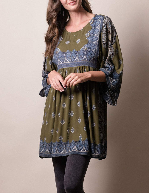 Mira Tunic Dress - Dark Sage