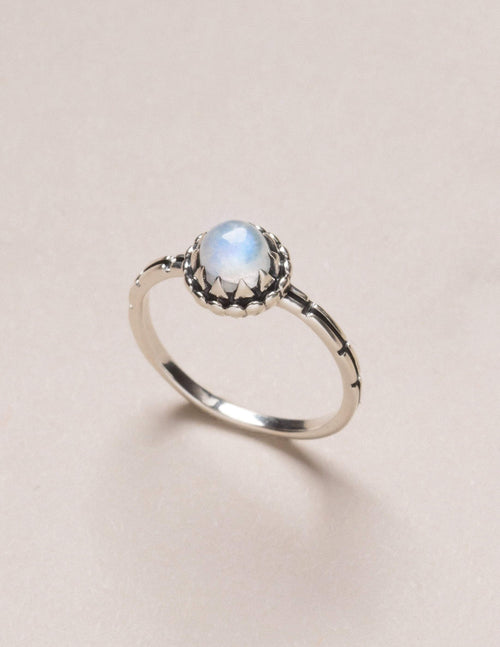 Moonstone Flower Ring - Size 5