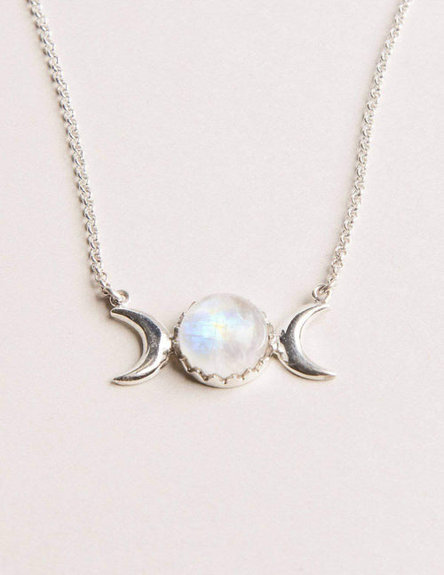 Mystic Moonstone Silver Necklace