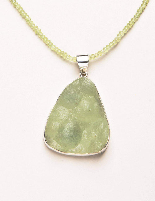 Natural Australian Prehnite with Peridot Bead Necklace - One of a Kind