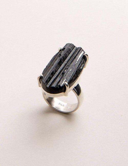 Natural Black Tourmaline Ring - Adjustable