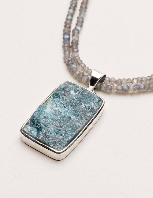 Natural Blue Apatite Necklace on Labradorite Necklace