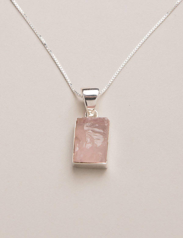Natural Rose Quartz Square Pendant