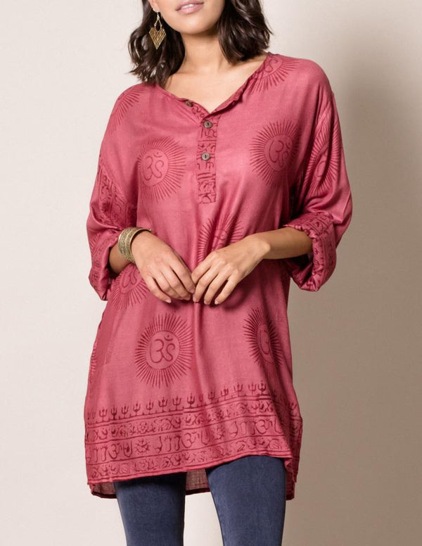 Om Print Tunic - Red
