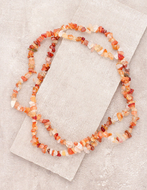 Orange Agate Gemstone Chip Necklace