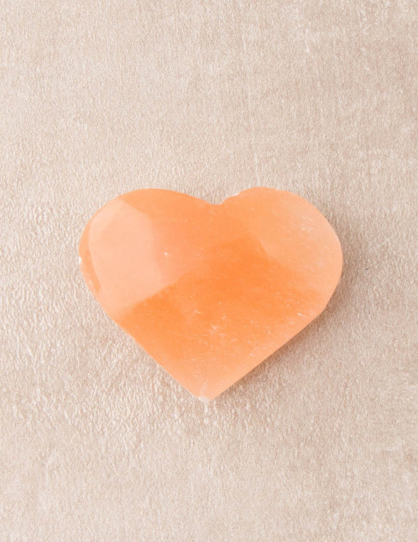 Peach Selenite Healing Heart