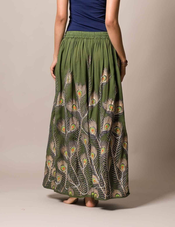 Peacock Feather Skirt - As Is Clearance