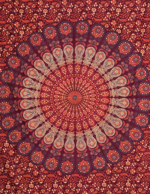 Peacock Mandala Curtain - Burgundy