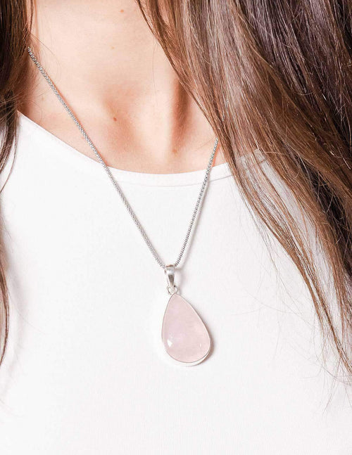 Radiant Rose Quartz Teardrop Pendant