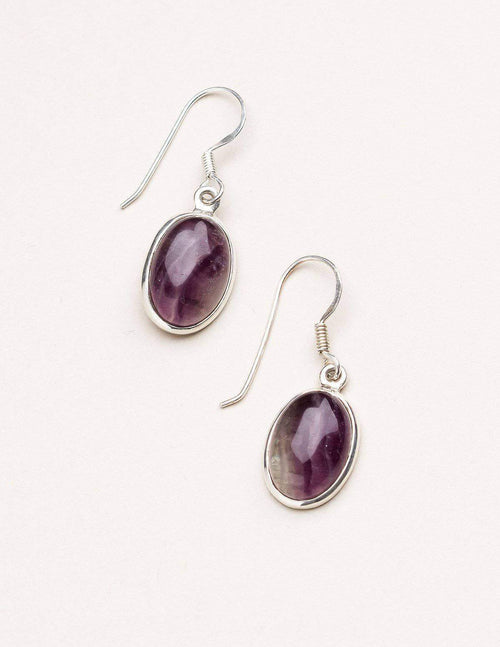 Rainbow Fluorite Oval Earrings