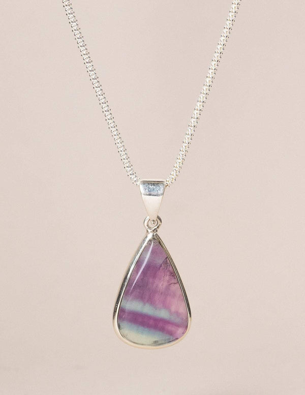 Rainbow Fluorite Teardrop Pendant Necklace