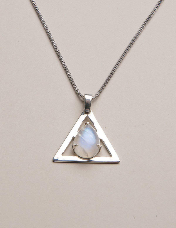 Rainbow Moonstone Triangle Pendant