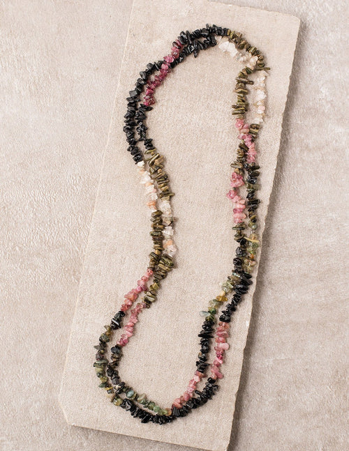 Rainbow Tourmaline Gemstone Chip Necklace