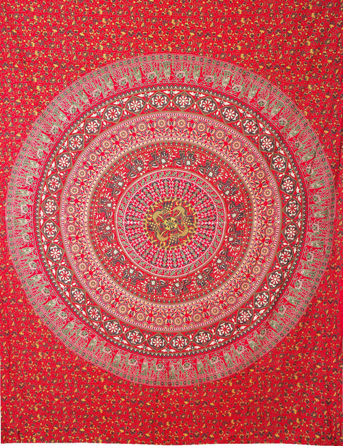 Red Mandala Woven Tapestry