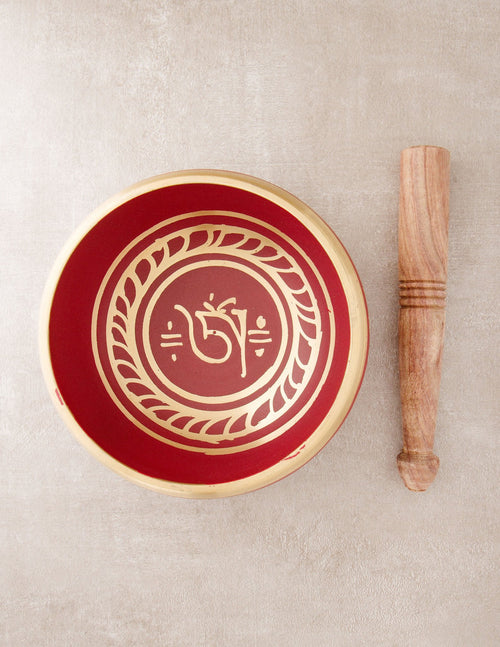 Red Tibetan Om Singing Bowl - 4 inch, 5 inch and 6 inch