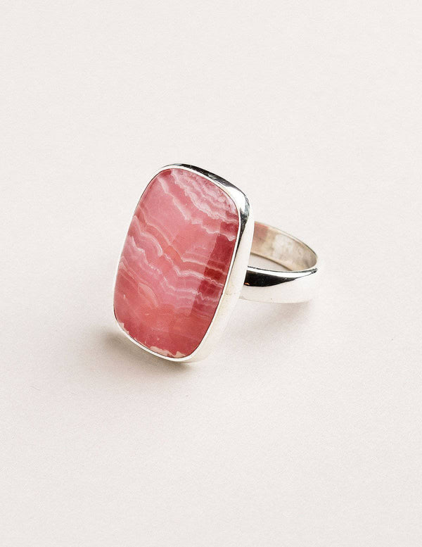 Rhodochrosite Square Gemstone Ring - Size 10