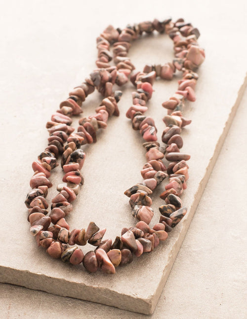 Rhodonite Gemstone Chip Necklace