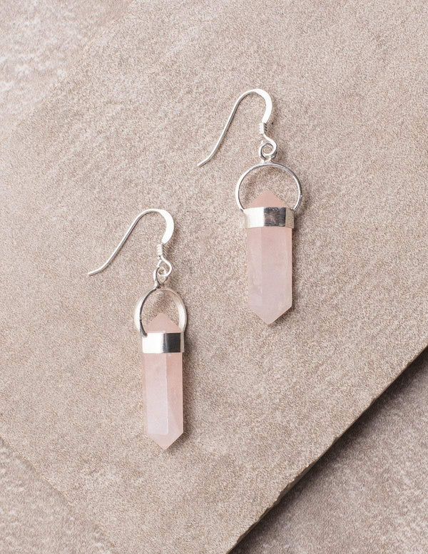 Rose Quartz Double Terminated Earrings