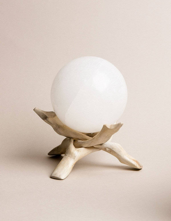 Selenite Sphere with Tripod Stand - 4 inch