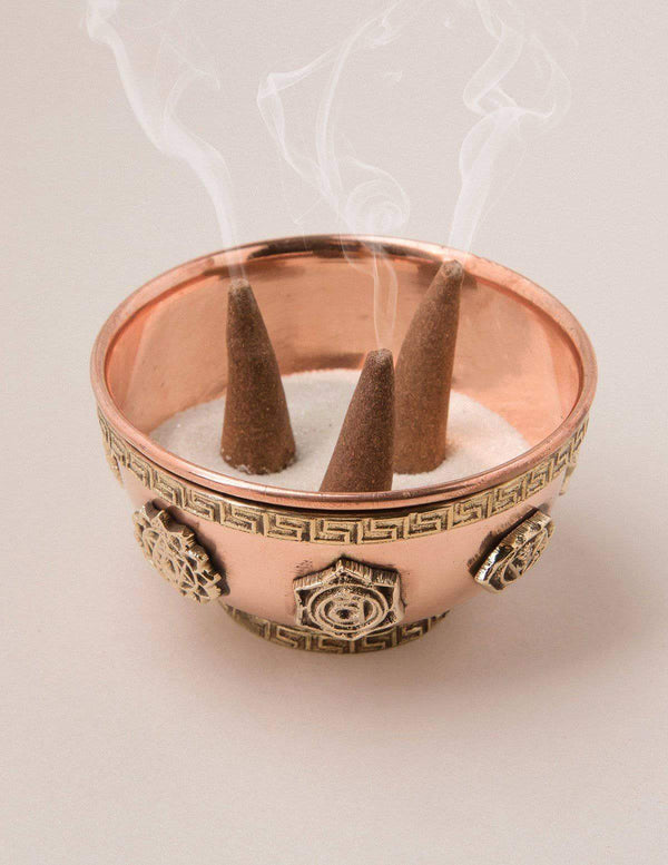 Seven Chakra Copper Incense Bowl