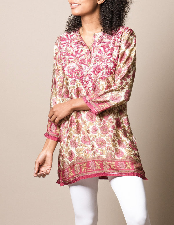 Shalimar Silk Tunic - Rose - 2XL Only