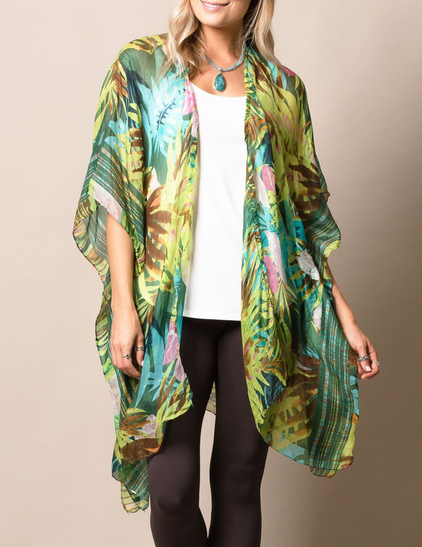 Silk Whimsy Wrap - Tropical Green