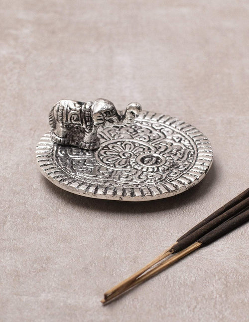 Silver Elephant Incense Burner