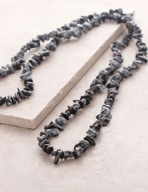 Snowflake Obsidian Gemstone Chip Necklace