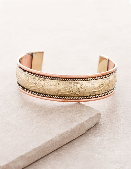 Tibetan Brass Center Healing Bangle