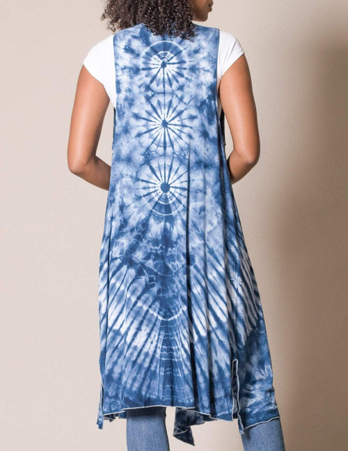 Tie-Dye Long Sleeveless Wrap - Indigo