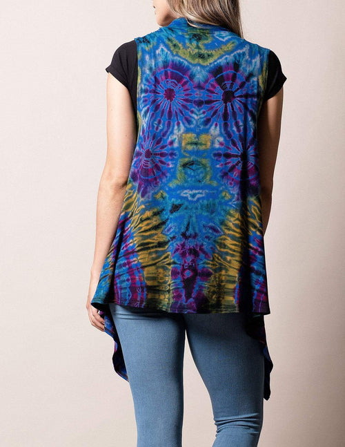 Tie-Dye Sleeveless Wrap - Lapis