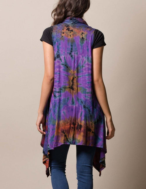 Tie-Dye Sleeveless Wrap - Purple