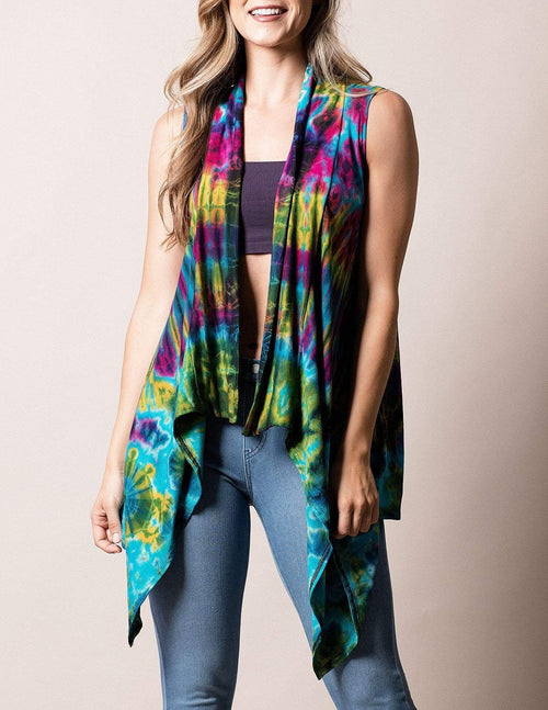 Tie-Dye Sleeveless Wrap - Teal