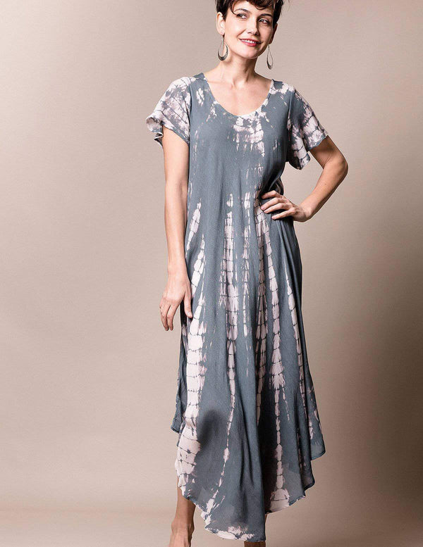 Tie-Dye Swing Dress - Grey Mist