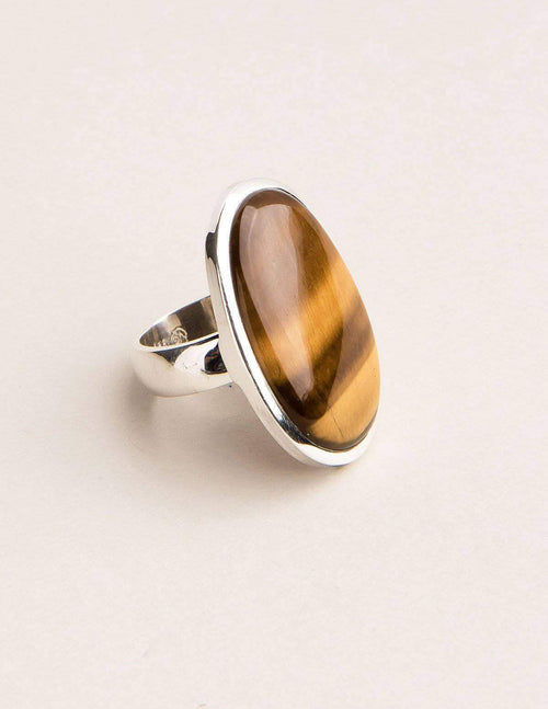 Tiger Eye Gemstone Ring - Adjustable