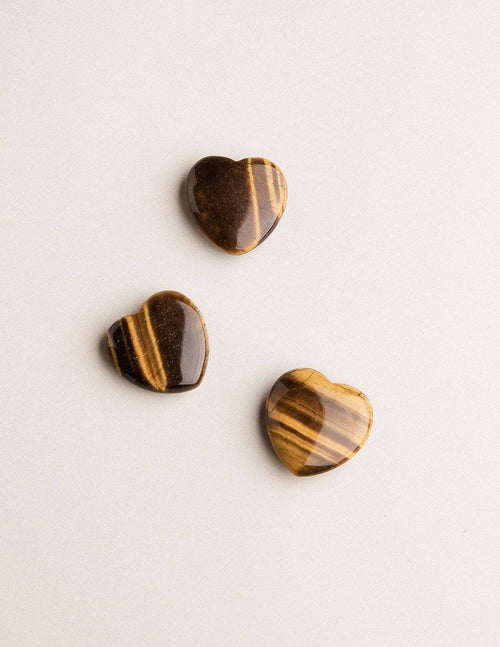 Tiger Eye Mini Hearts - Set of 3