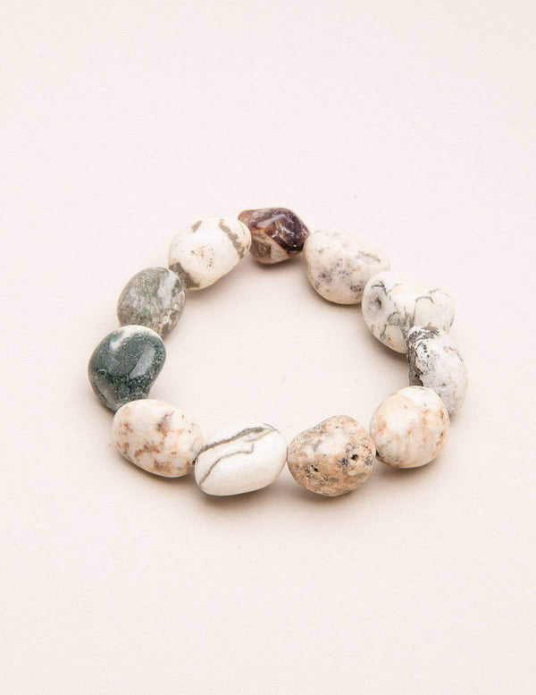 Tree Agate Beaded Bracelet