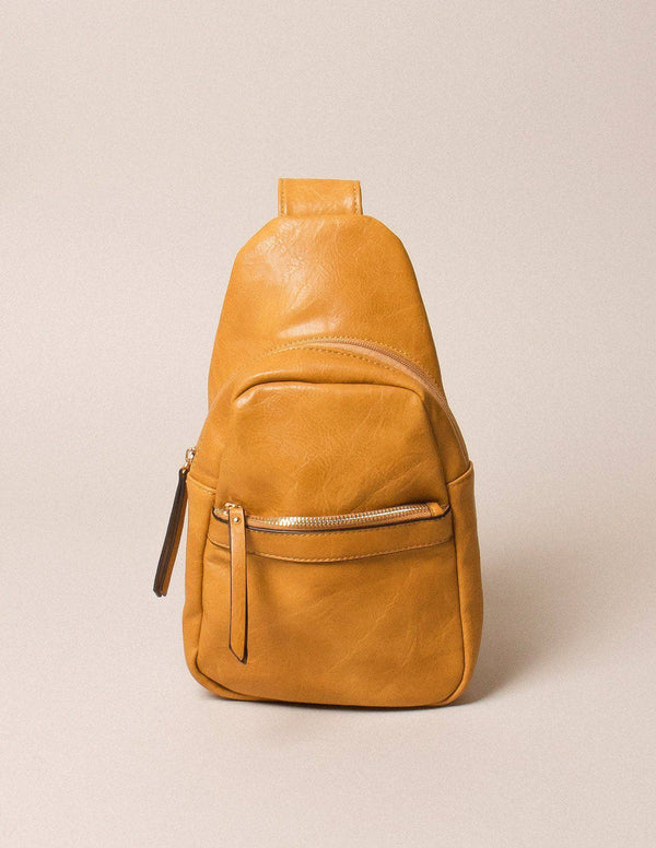 Vegan Leather Crossbody Shoulder Bag - Mustard