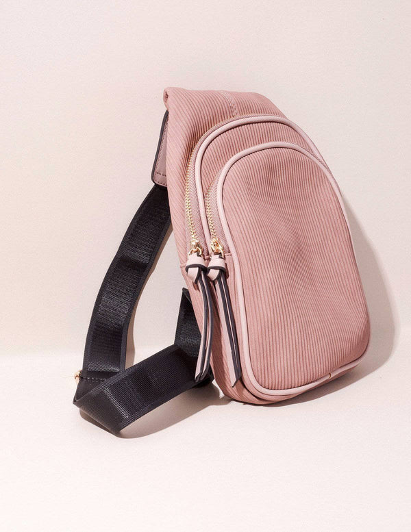 Vegan Leather Crossbody Sling - Blush