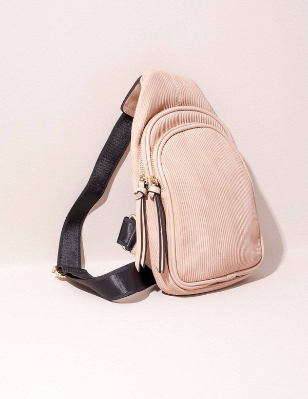 Vegan Leather Crossbody Sling - Stone