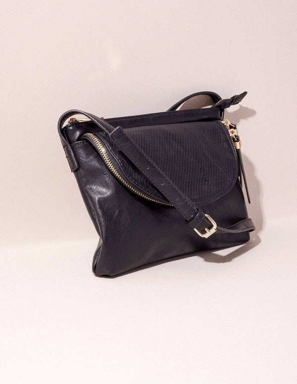 Vegan Leather Crossbody Zara Bag - Black