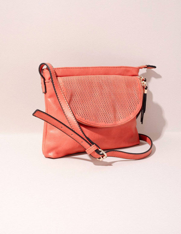 Vegan Leather Crossbody Zara Bag - Rust